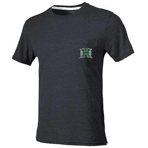 Men's Heathered Charcoal Hawaii Warriors Quarterback Pocket Tri-Blend T-Shirt