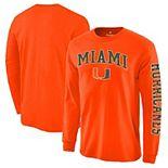 Men's Orange Miami Hurricanes Distressed Arch Over Logo Long Sleeve Hit T-Shirt