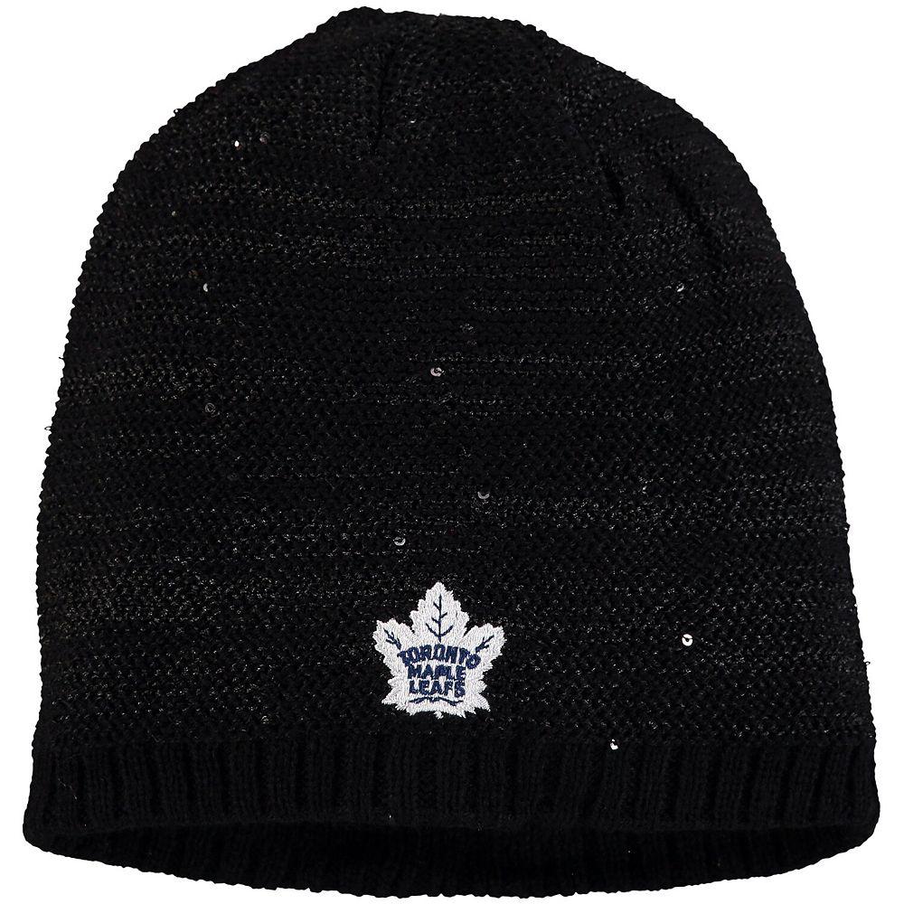 Women's adidas Black Toronto Maple Leafs Sequin Knit Beanie