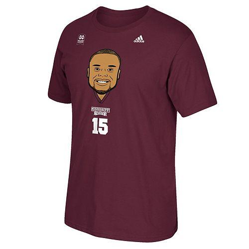 Men's adidas Dak Prescott Maroon Mississippi State Bulldogs Big Head T-Shirt