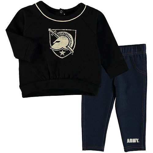 Girls Infant Colosseum Black/Denim Army Black Knights Rosalita Ruffled Sweatshirt Leggings Set