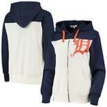 Women's Touch Oatmeal/Navy Detroit Tigers Conference Full-Zip Hoodie
