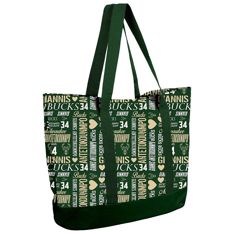 UPC 191418376990 product image for Women's Giannis Antetokounmpo Milwaukee Bucks Player Collage Tote Bag, Green | upcitemdb.com