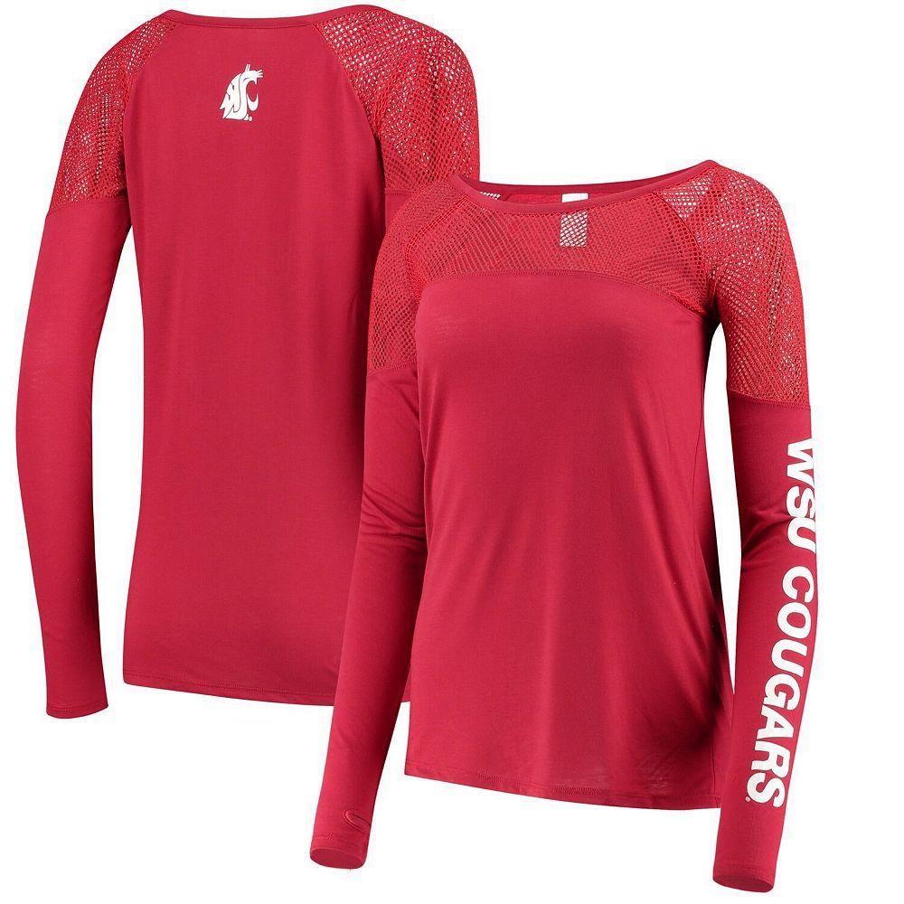 Women's ZooZatz Crimson Washington State Cougars Kickoff Long Sleeve Mesh T-Shirt