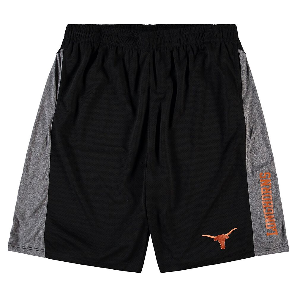 Men's Black Texas Longhorns Big & Tall Side Panel Texture Shorts