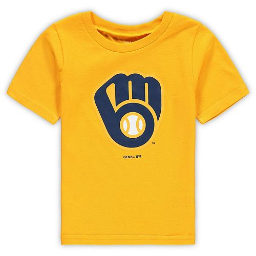 Toddler Gold Milwaukee Brewers Primary Team Logo T-Shirt