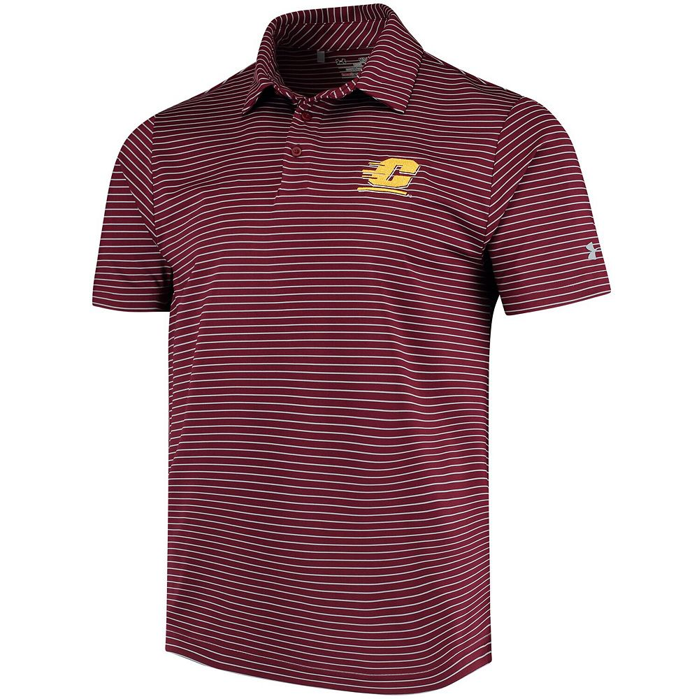 Men's Under Armour Maroon Central Michigan Chippewas Playoff Stripe Performance Polo