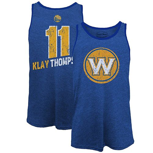 Men's Majestic Threads Klay Thompson Royal Golden State Warriors Name & Number Tri-Blend Tank Top