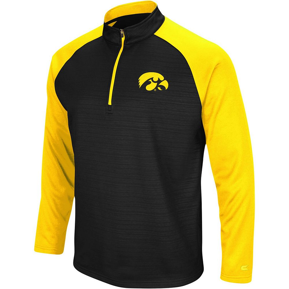 Men's Colosseum Black Iowa Hawkeyes Setter Quarter-Zip Pullover Jacket
