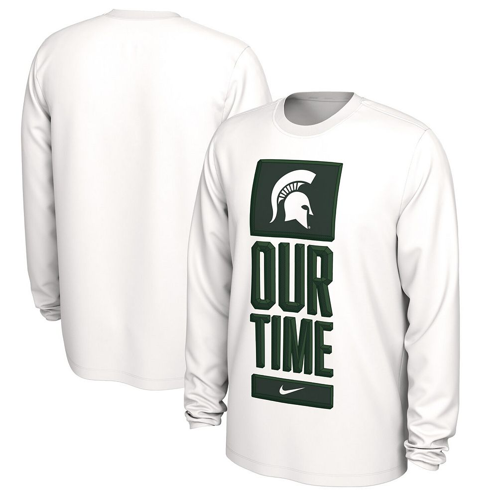 Men's Nike White Michigan State Spartans Basketball Our Time Bench Legend Performance Long Sleeve T-Shirt