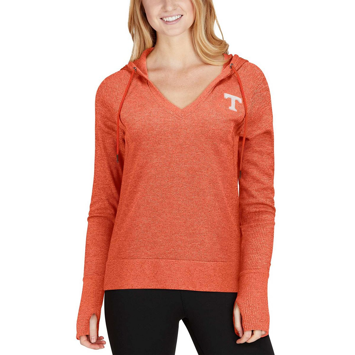 Women's Colosseum Tennessee Orange Tennessee Volunteers Never Doubt V-Neck Hoodie Thermal T-Shirt tGsQN