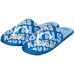 Youth Royal Kansas City Royals Wordmark Printed Slippers