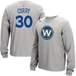 Men's adidas Stephen Curry Gray Golden State Warriors Name and Number Long Sleeve T-Shirt