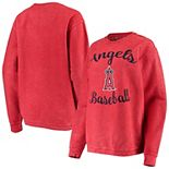 Women's G-III 4Her by Carl Banks Red Los Angeles Angels Script Comfy Cord Pullover Sweatshirt