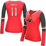 Women's Reebok Zach Parise Red Minnesota Wild Edge PlayDry Long Sleeve Jersey T-Shirt