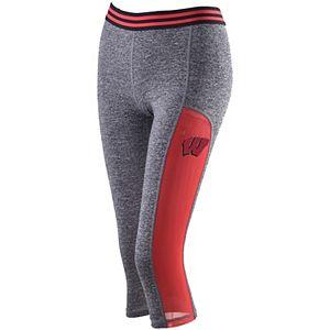 Women's ZooZatz Gray Wisconsin Badgers Blitz Mesh Insert Capri Pants
