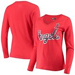 Women's G-III 4Her by Carl Banks Red Los Angeles Angels Perfect Game Long Sleeve V-Neck T-Shirt