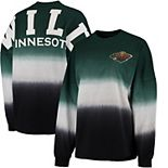 Women's Fanatics Branded Green/Black Minnesota Wild Ombre Spirit Jersey Long Sleeve Oversized T-Shirt