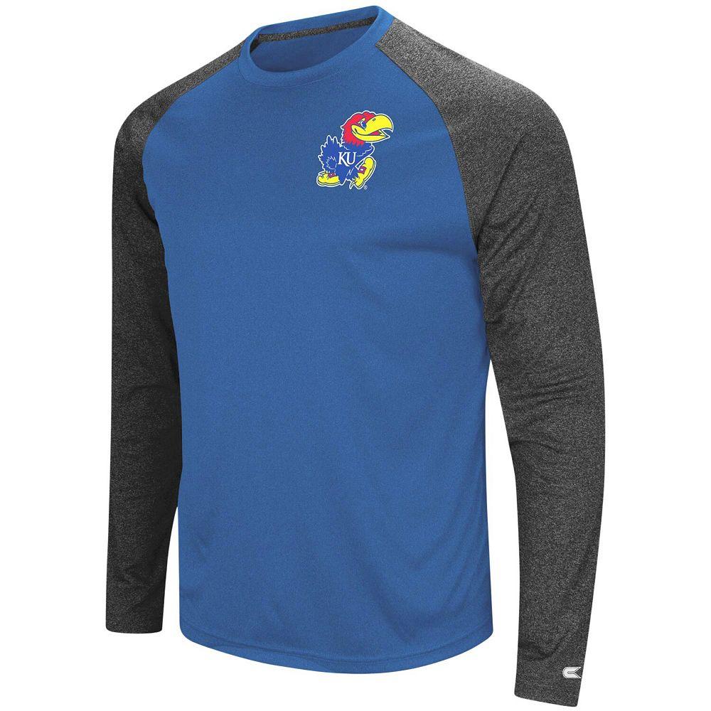 Men's Colosseum Royal/Black Kansas Jayhawks Lumbergh Raglan Long Sleeve T-Shirt