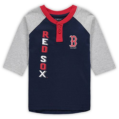 Toddler Navy/Heathered Gray Boston Red Sox Play to Win Henley 3/4-Sleeve T-Shirt