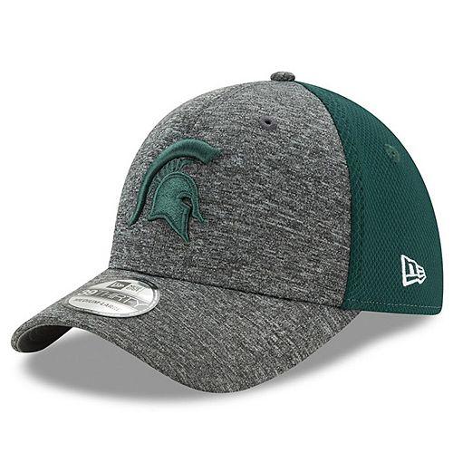 Men's New Era Heathered Gray/Green Michigan State Spartans Shadow Blocker 39THIRTY Flex Hat