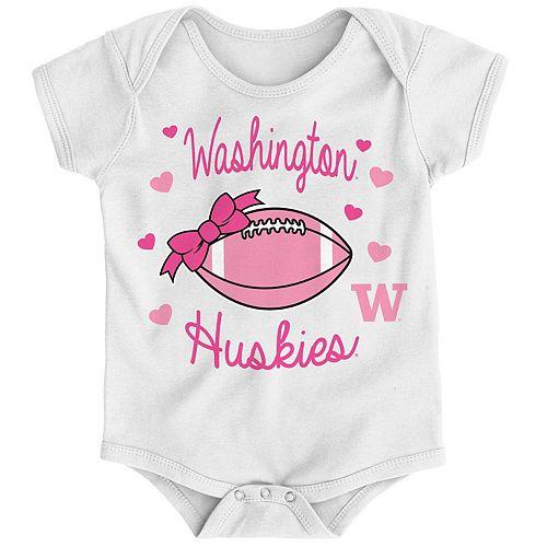 Girls Infant White Washington Huskies Sunday Best Bodysuit