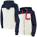 Women's Touch Oatmeal/Navy Cleveland Indians Conference Full-Zip Hoodie