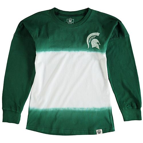 Girls Preschool Wes & Willy Green Michigan State Spartans Dip Dye Cheer Long Sleeve T-Shirt