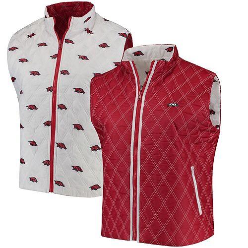Women's Cardinal/White Arkansas Razorbacks Plus Size Reversible Full-Zip Puffer Vest