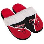 Women's Chicago Bulls Cursive Colorblock Slippers