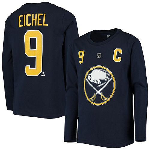 Youth Jack Eichel Navy Buffalo Sabres Authentic Stack Long Sleeve Name & Number T-Shirt