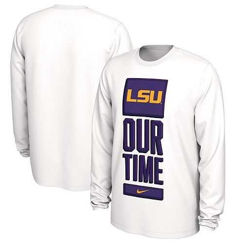 Men's Nike White LSU Tigers Basketball Our Time Bench Legend Performance Long Sleeve T-Shirt