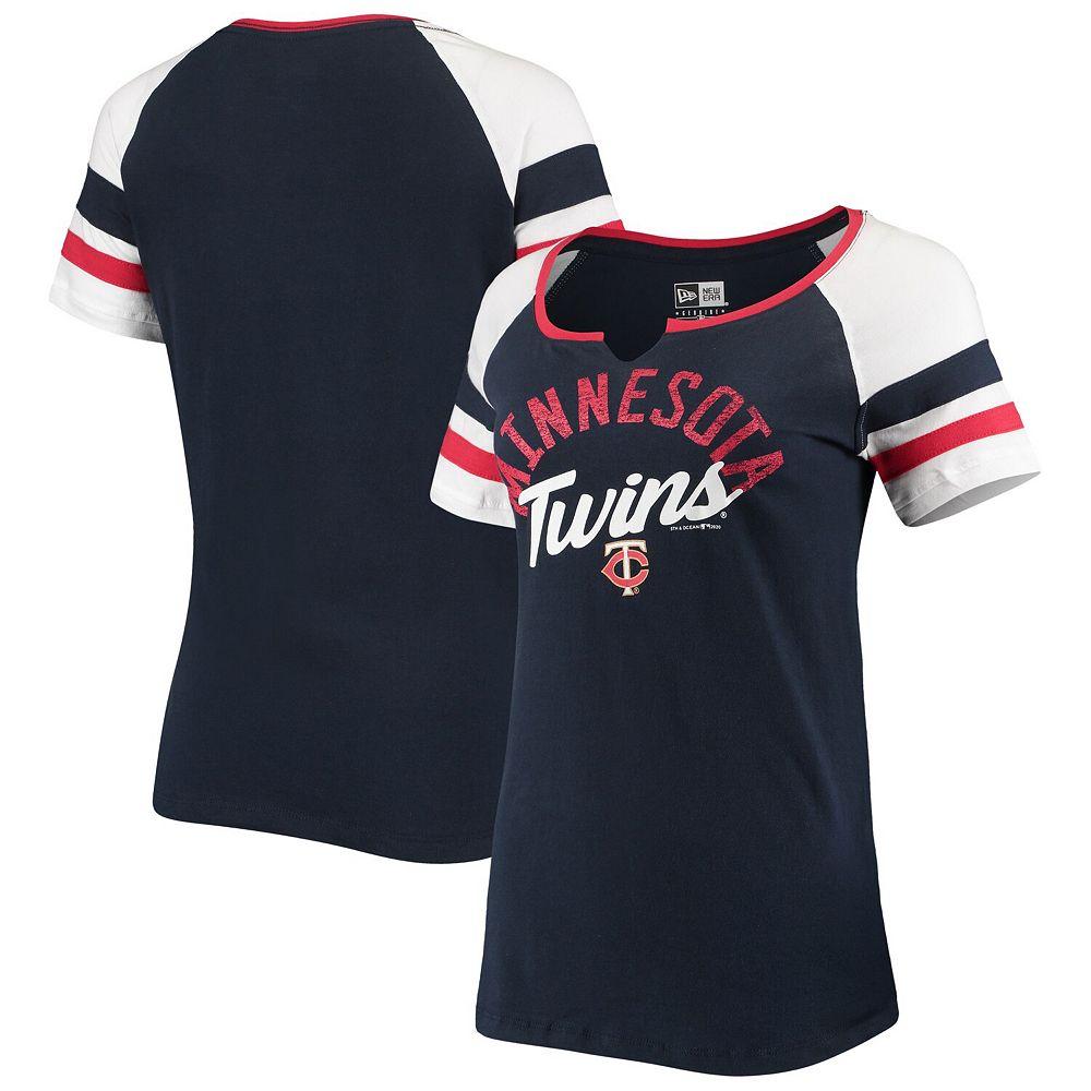 Women's New Era Navy Minnesota Twins Striped Sleeve V-Notch T-Shirt
