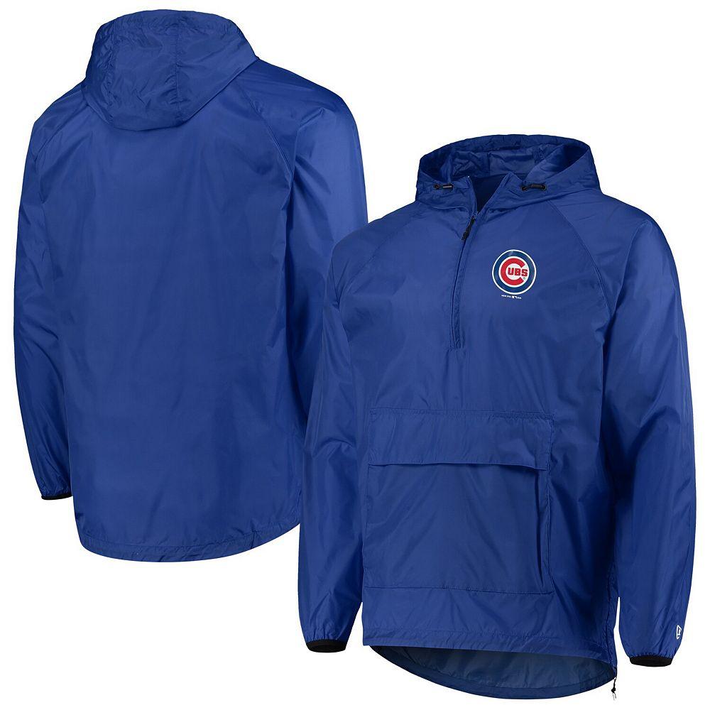 Men's New Era Royal Chicago Cubs Anorak Packable 1/4-Zip Hoodie Jacket
