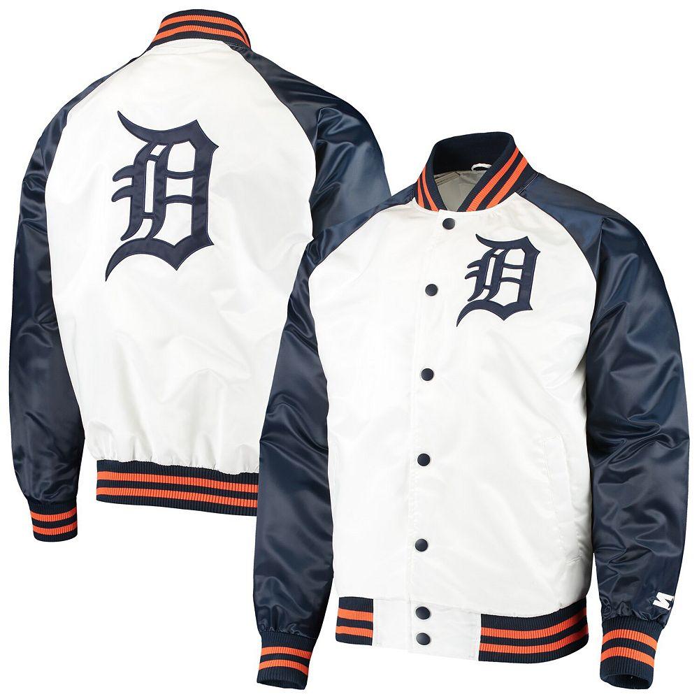 Men's Starter White/Navy Detroit Tigers Clean-Up Hitter Full-Snap Jacket