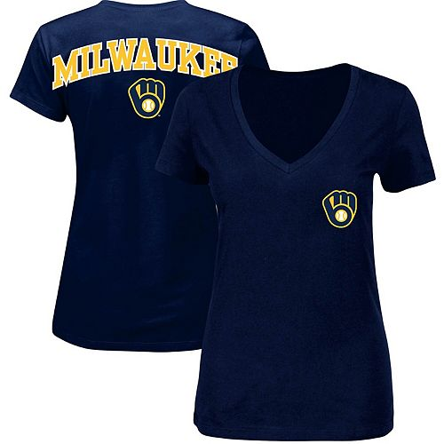 Women's Navy Milwaukee Brewers Plus Size Spirit V-Neck T-Shirt