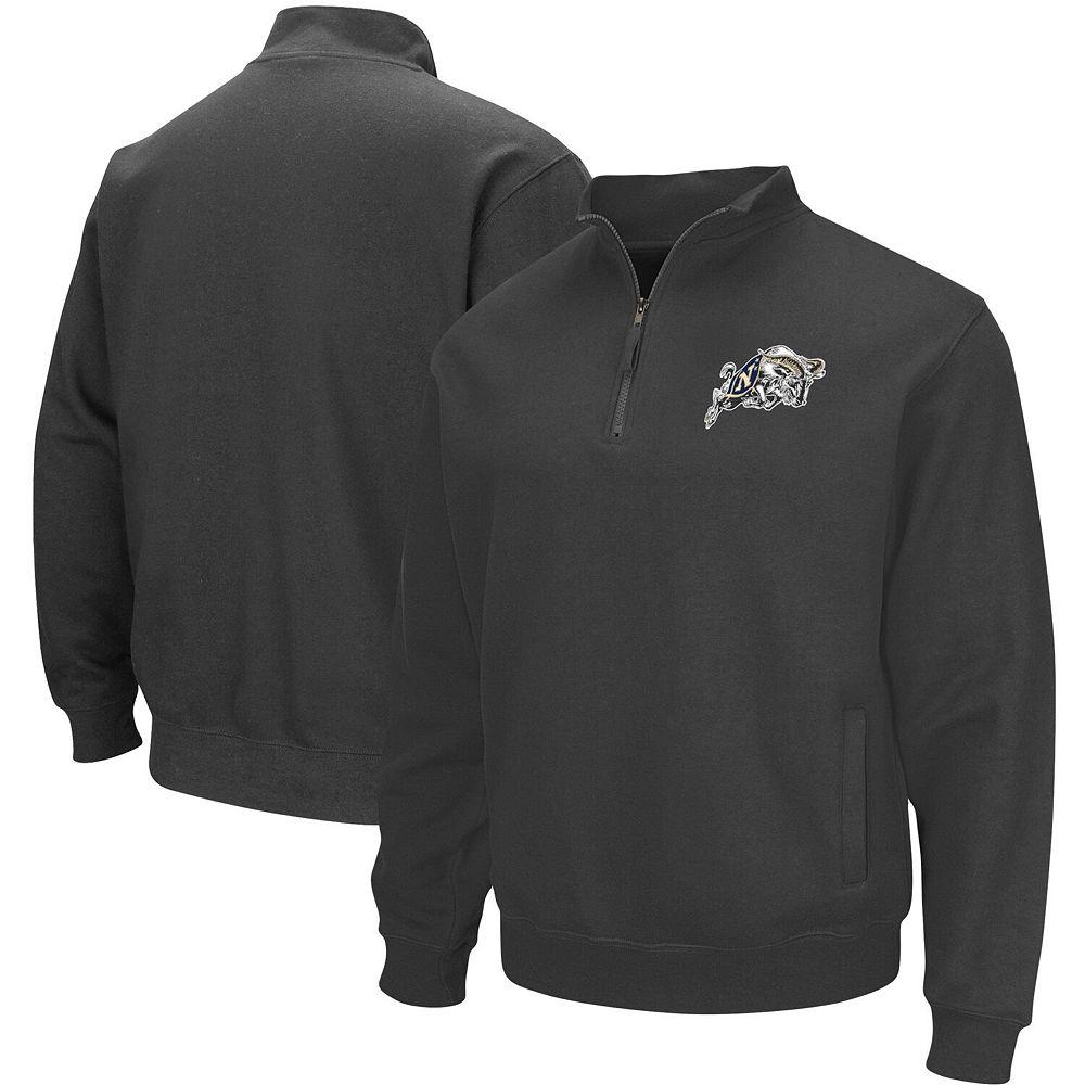 Men's Charcoal Navy Midshipmen Team Logo Quarter-Zip Sweatshirt