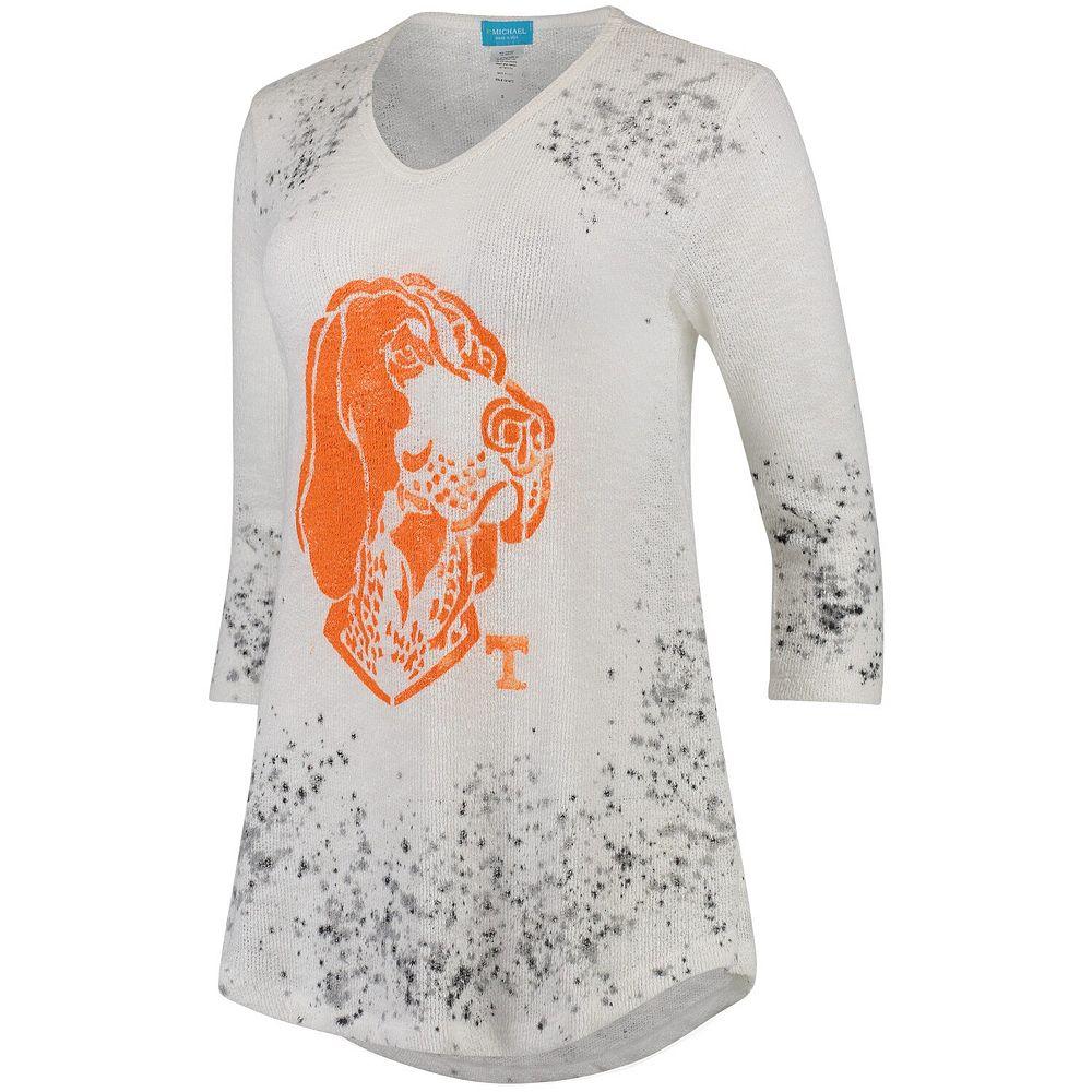 Women's Cream Tennessee Volunteers Lightweight Tissue Knit Sheer V-Neck Shirt