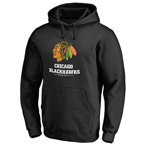 Men's Black Chicago Blackhawks Team Lockup Pullover Hoodie
