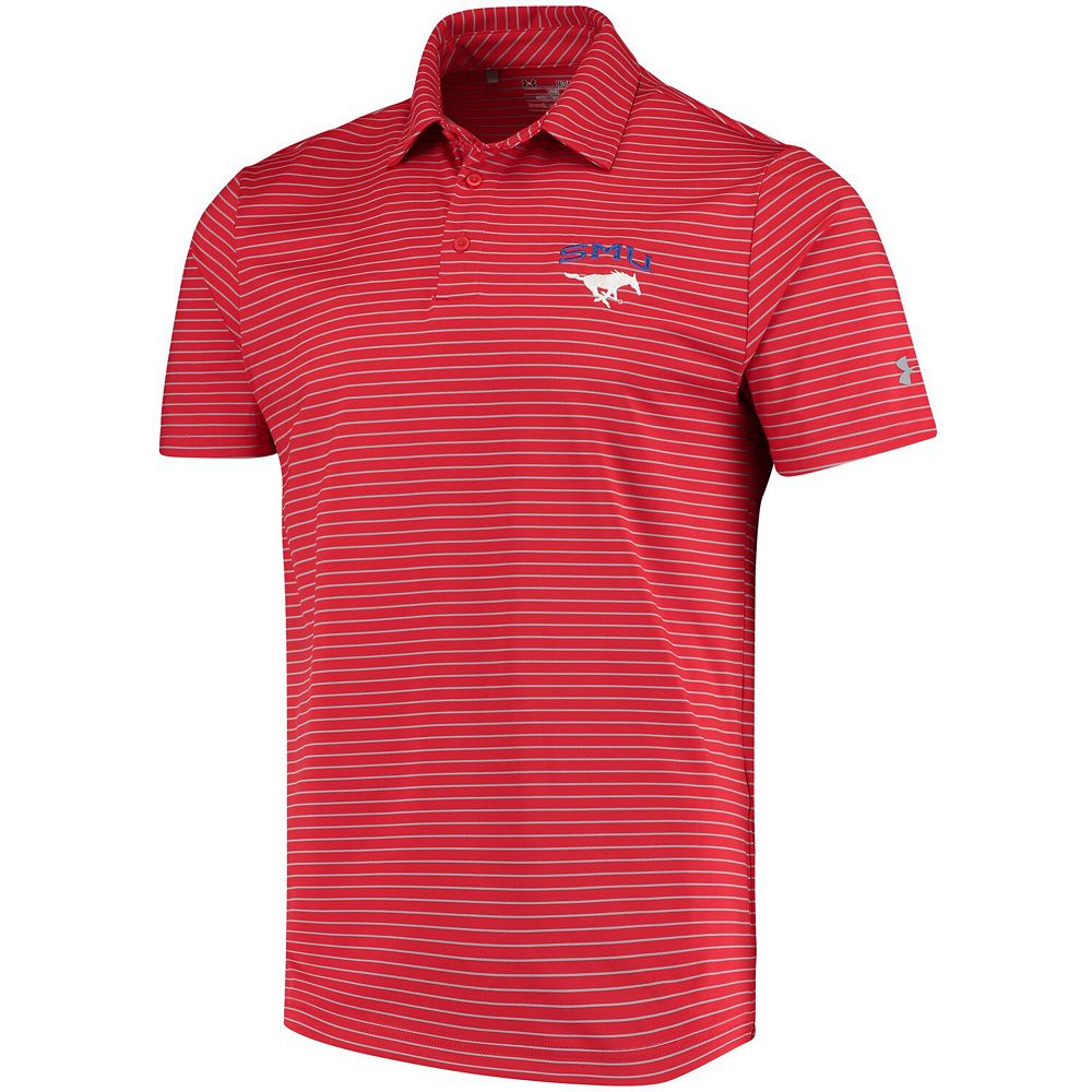 Men's Under Armour Red SMU Mustangs Playoff Stripe Performance Polo