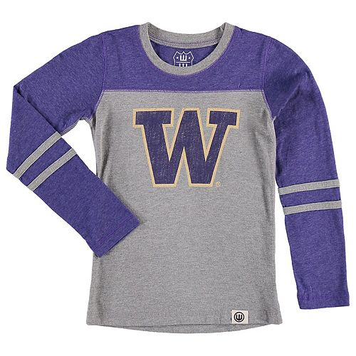 Girls Preschool Wes & Willy Heathered Purple Washington Huskies Slub Blend Long Sleeve Jersey T-Shirt