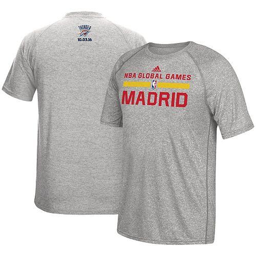 Men's adidas Heathered Gray Oklahoma City Thunder Madrid Global Games climalite T-Shirt
