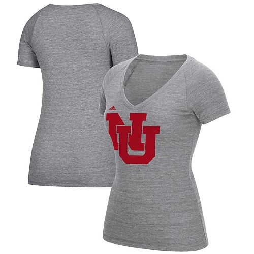 Women's adidas Heathered Gray Nebraska Cornhuskers Vault Vintage Tri-Blend V-Neck T-Shirt
