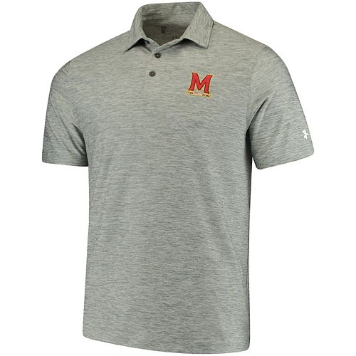 Men's Under Armour Heathered Gray Maryland Terrapins Collegiate Elevated Performance Polo
