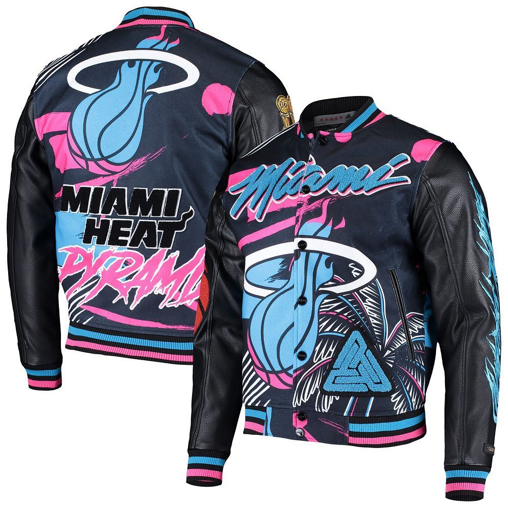 Men's Black Miami Heat Pyramid Full-Snap Varsity Jacket
