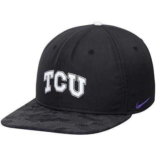 Men's Nike Black TCU Horned Frogs Free Trainer 2.0 Hook Zero True Adjustable Performance Hat
