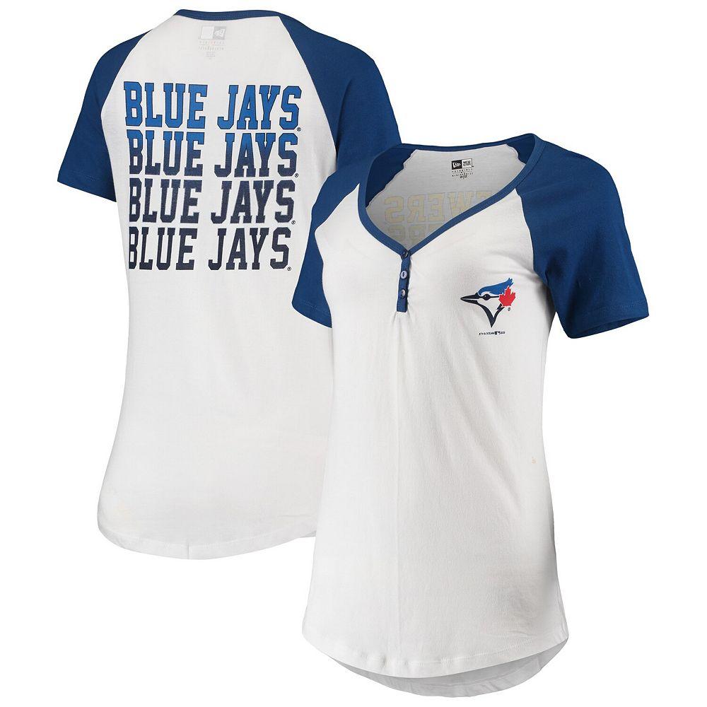 Women's New Era White Toronto Blue Jays Henley T-Shirt