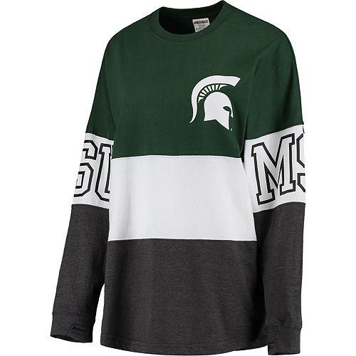 Women's Pressbox Green Michigan State Spartans Clarity Oversized Long Sleeve T-Shirt