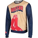 Men's Tan/Navy Boston Red Sox Sublimated Crew Neck Sweater