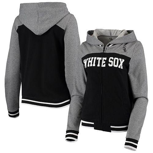 Women's New Era Black Chicago White Sox French Terry Varsity Full-Zip Hoodie